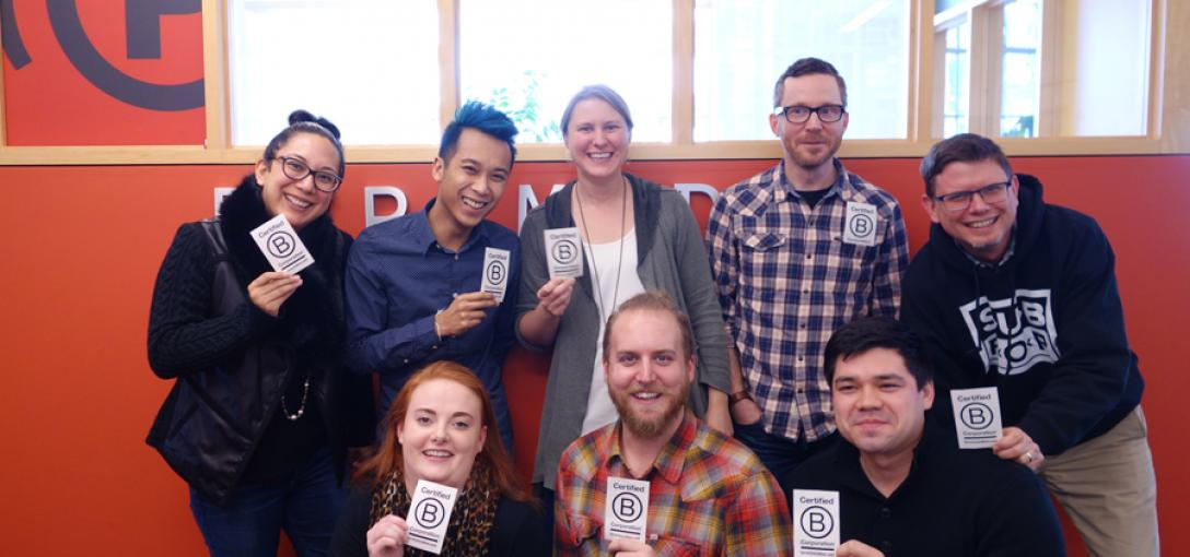 Pyramigos in our Seattle office celebrate their new B Corp status.