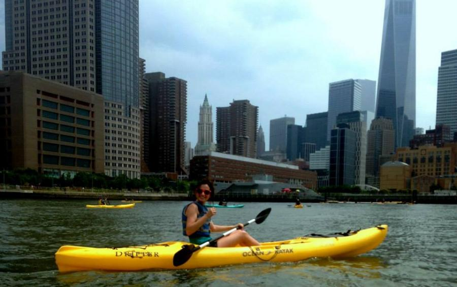 Suzanne kayaks the Hudson River during her summer in New York.